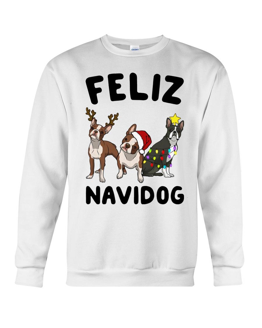 Feliz Navidog Boston Terrier Christmas Crewneck Sweatshirt