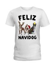 Feliz Navidog Boston Terrier Christmas Ladies T-Shirt thumbnail