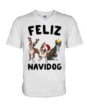 Feliz Navidog Boston Terrier Christmas V-Neck T-Shirt thumbnail