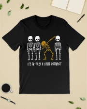Skeleton dabbing sunflower It's Ok to be a little Classic T-Shirt lifestyle-mens-crewneck-front-19