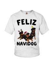 Feliz Navidog Rottweiler Christmas Youth T-Shirt tile