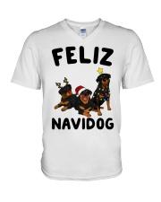 Feliz Navidog Rottweiler Christmas V-Neck T-Shirt thumbnail