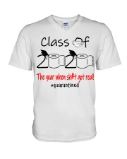 Class of 2020 the year when shit got real  V-Neck T-Shirt thumbnail