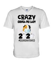 Crazy guinea pig lazy 2020 quarantined T-shirt V-Neck T-Shirt thumbnail