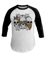 3 skull No Speak No Hear No see shirt Baseball Tee thumbnail