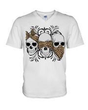 3 skull No Speak No Hear No see shirt V-Neck T-Shirt thumbnail