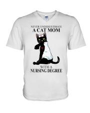 A cat mom with a nursing degree T-shirt V-Neck T-Shirt thumbnail