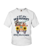 Huskies living life in peace hippie Girl Youth T-Shirt thumbnail