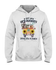 Huskies living life in peace hippie Girl Hooded Sweatshirt thumbnail