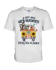 Huskies living life in peace hippie Girl V-Neck T-Shirt thumbnail