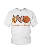 Peace love basketball shirt Youth T-Shirt tile