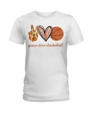 Peace love basketball shirt Ladies T-Shirt thumbnail