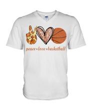 Peace love basketball shirt V-Neck T-Shirt thumbnail