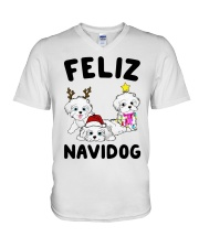 Feliz Navidog Havanese Dog Christmas shirt V-Neck T-Shirt thumbnail
