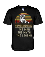 Grandsonsaurus Says the man the myth the legend  V-Neck T-Shirt tile