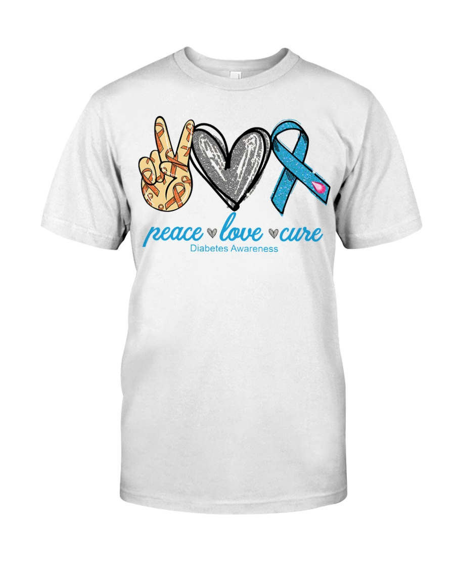 Peace Love Cure Diabetes Awareness shirt Classic T-Shirt