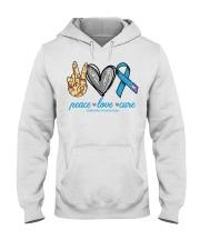 Peace Love Cure Diabetes Awareness shirt Hooded Sweatshirt thumbnail