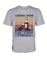 I Drink Wine V-Neck T-Shirt thumbnail