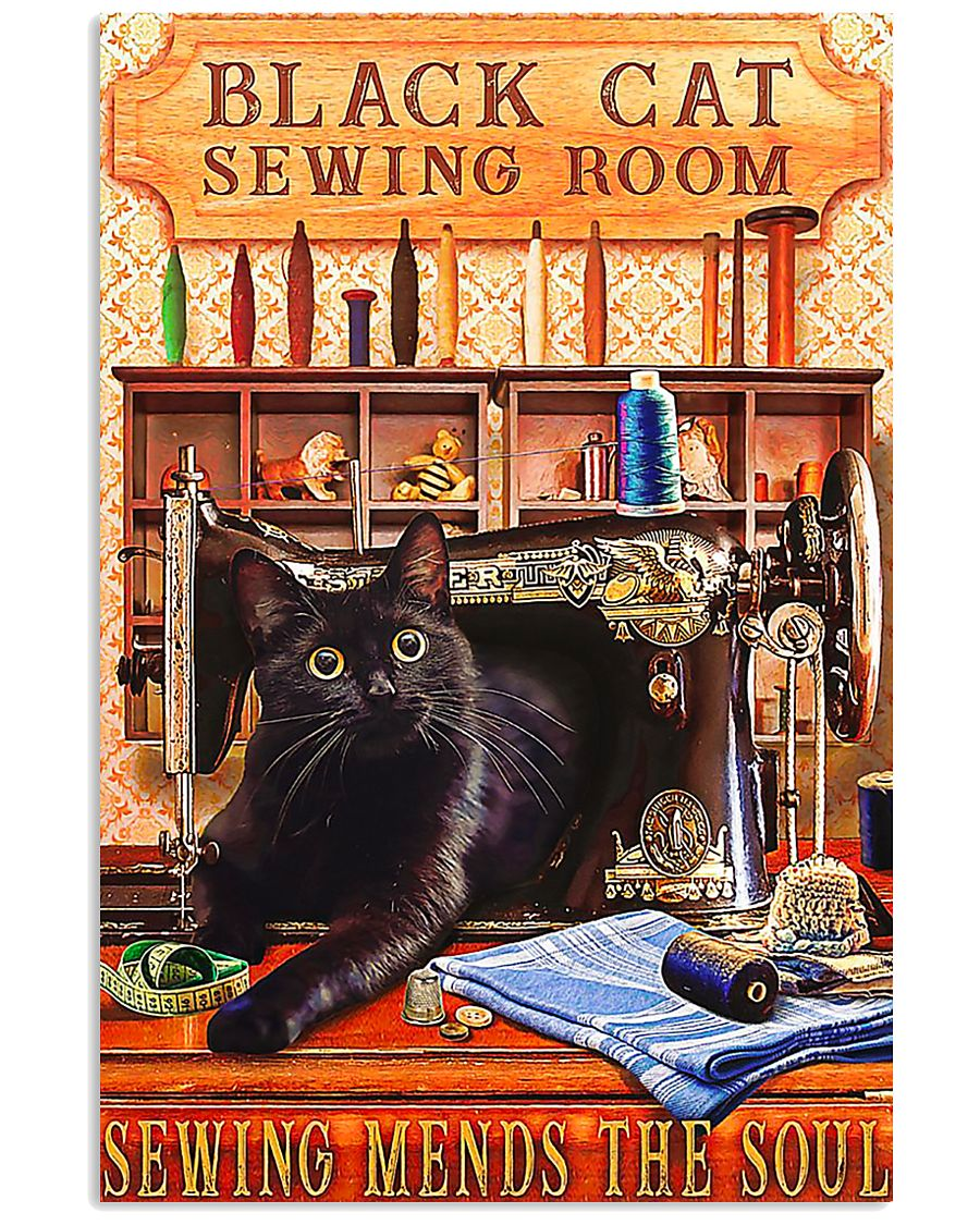 Black Cat Sewing Poster  11x17 Poster