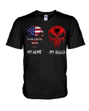 MY HOME SKULL ALBANIA V-Neck T-Shirt thumbnail