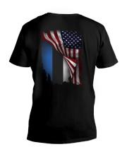 Flag-America-Estonia V-Neck T-Shirt thumbnail