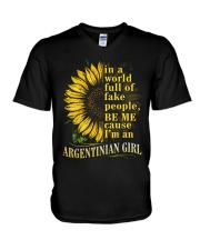 Sunflower Girl-Argentinian V-Neck T-Shirt thumbnail