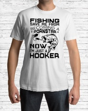 Fishing save me from becoming a pornstar Classic T-Shirt lifestyle-mens-crewneck-front-1