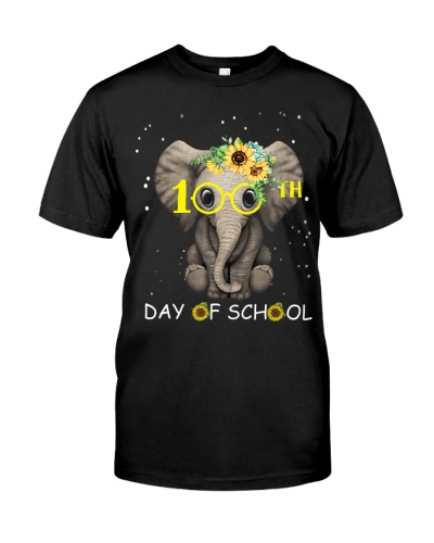 100th Day Of School Cute Elephant Sunflower