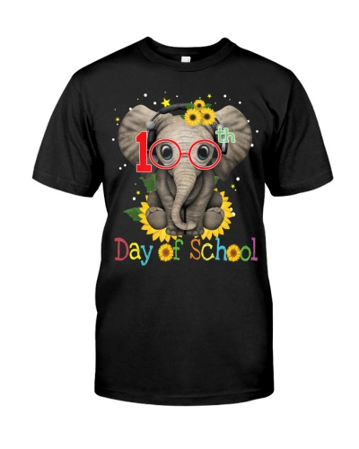 100th Day Of School Cute Elephant And Sunflower