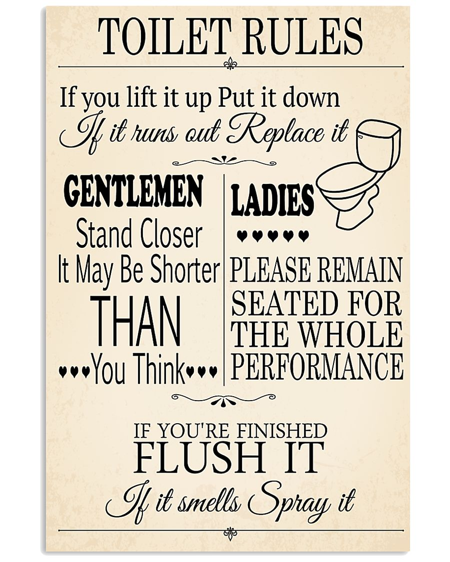 TOILET RULES 24x36 Poster