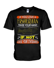 If you love a fisherman raise your hand V-Neck T-Shirt thumbnail