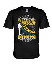 Weekend forecast fishing V-Neck T-Shirt thumbnail