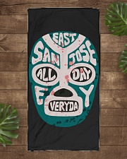 EAST SAN JOSE BIGGO BEACH TOWEL Lucha Sharks Teal Beach Towel aos-towelbeach-vertical-front-lifestyle-1