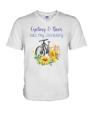 Cycle - Cycling And Beer Are My Therapy V-Neck T-Shirt thumbnail