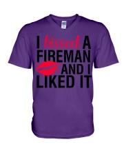 Firefighter - I Kissed A Fireman V-Neck T-Shirt thumbnail