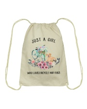 Cycle - Just A Girl  Who Loves Bicycle And Dogs Drawstring Bag thumbnail