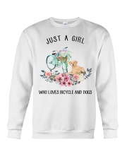 Cycle - Just A Girl  Who Loves Bicycle And Dogs Crewneck Sweatshirt thumbnail
