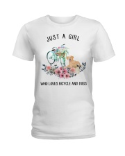 Cycle - Just A Girl  Who Loves Bicycle And Dogs Ladies T-Shirt thumbnail