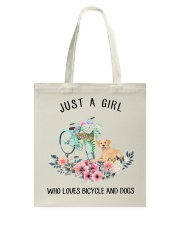 Cycle - Just A Girl  Who Loves Bicycle And Dogs Tote Bag thumbnail
