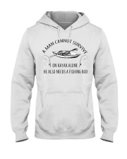 Kayaking - A Man Cannot Survive On Kayak Alone Hooded Sweatshirt thumbnail