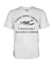Kayaking - A Man Cannot Survive On Kayak Alone V-Neck T-Shirt thumbnail