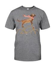 Dachshund - Merry Christmas - Dog On Bike Classic T-Shirt front