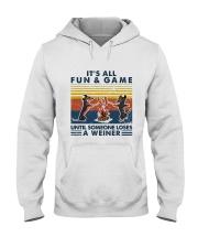 Funny Dachshund Wiener Camping Hooded Sweatshirt thumbnail
