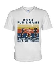 Funny Dachshund Wiener Camping V-Neck T-Shirt thumbnail