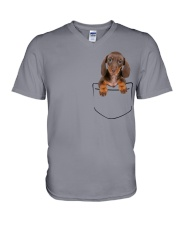 Dachshund Pocket V-Neck T-Shirt thumbnail