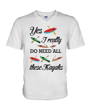 Kayaking - I Really Do Need All These Kayaks V-Neck T-Shirt thumbnail