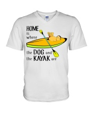 Kayaking - Home Is Where The Dog And The Kayak Are V-Neck T-Shirt thumbnail