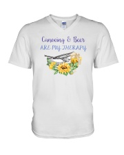 Canoeing - Canoeing And Beer Are My Therapy V-Neck T-Shirt thumbnail