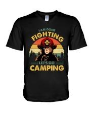 Camping I Am Done Fighting V-Neck T-Shirt thumbnail