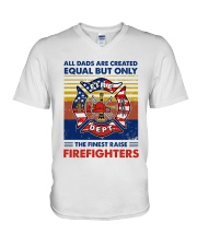 Independence Day Finest Firefighter Dad V-Neck T-Shirt tile